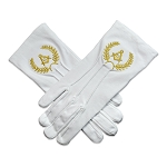 Grand Lodge Hand Embroidered Cotton Masonic White Gloves