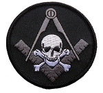 Widow's Son Skull & Crossbones Square & Compass Round Embroidered Masonic Patch - [Black, Grey & White][3'' Diameter]