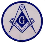 Square & Compass Round Embroidered Masonic Patch - [White & Blue][3'' Diameter]