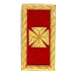 Knights Templar Grand Officer Teutonic Cross Embroidered Masonic Shoulder Board Pair - [Red & Gold][4'' Tall]
