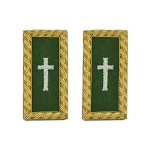Knights Templar Commander Cross Embroidered Masonic Shoulder Board Pair - [Green, White & Gold][4'' Tall]