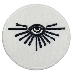 All Seeing Eye Round Embroidered Masonic Patch - [White & Black][1 1/2'' Diameter]