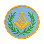 Wreathed Square & Compass Round Embroidered Masonic Patch - [Light Blue, Green & Gold][3'' Diameter]