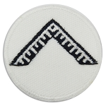 Worshipful Master's Square Round Embroidered Masonic Patch - [White & Black][1 1/2'' Diameter]