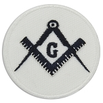 Square & Compass Round Embroidered Masonic Patch - [White & Black][3'' Diameter]
