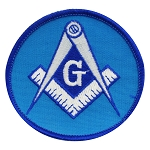 Square & Compass Round Embroidered Masonic Patch - [Blue & White][3'' Diameter]