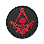 Widow's Son Skull & Crossbones Square & Compass Round Embroidered Masonic Patch - [Black & Red][3'' Diameter]