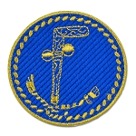 Tubal Cain Round Embroidered Masonic Patch - [Blue & Gold][3'' Diameter]