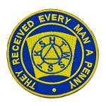 Keystone Round Embroidered Masonic Patch - [Blue & Gold][3'' Diameter]