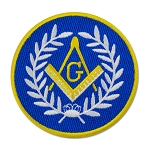 Wreathed Square & Compass Round Embroidered Masonic Patch - [Blue, White & Gold][3'' Diameter]