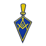 Trowel Square & Compass Embroidered Masonic Patch - [Blue & Gold][3'' Tall]