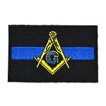 Police Thin Blue Line Square & Compass Embroidered Masonic Patch - [Black, Blue & Gold][3'' Wide]