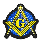 Shining Square & Compass Embroidered Masonic Patch - [Blue, Gold & Black][3
