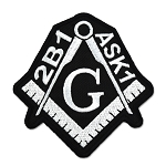 2B1 ASK1 Square & Compass Embroidered Masonic Patch - [Black & White][3'' Tall]
