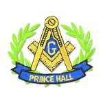 Prince Hall Wreathed Square & Compass Embroidered Masonic Patch - [Gold, Green & Blue][3'' Wide]