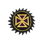 Knights Templar Teutonic Cross Embroidered Masonic Patch - [Black, Gold & Purple][5 1/2'' Tall]
