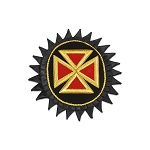 Knights Templar Teutonic Cross Embroidered Masonic Patch - [Black, Gold & Red][5 1/2'' Tall]