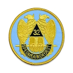 32nd Degree Eagle Round Embroidered Masonic Patch - [Light Blue, Gold & Black][3