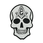 Skull Square & Compass Embroidered Masonic Patch - [Black & White][3'' Tall]
