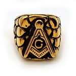 Gold Finish Stainless Steel Masonic Ring