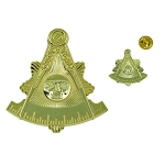 Shining Past Master Gold Auto Emblem Lapel Pin Masonic Combo Pack