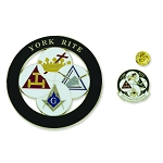 York Rite of Freemasonry Auto Emblem Lapel Pin Masonic Combo Pack