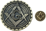 Antique Brass Auto Emblem Lapel Pin Masonic Combo Pack