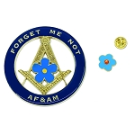 Forget Me Not AF&AM Auto Emblem Lapel Pin Masonic Combo Pack