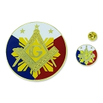 Sunburst Square & Compass Auto Emblem Lapel Pin Masonic Combo Pack