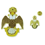 33rd Degree Double Headed Eagle Scottish Rite Auto Emblem Lapel Pin Masonic Combo Pack