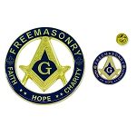 Faith Hope Charity Square & Compass Auto Emblem Lapel Pin Masonic Combo Pack
