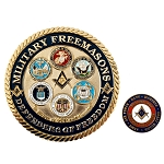 Military Masons Defenders of Freedom Auto Emblem Lapel Pin Masonic Combo Pack