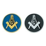 Square & Compass Round Gold & Silver Masonic Auto Emblem Combo Pack - 2