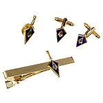 Trowel Lapel Pin Tie Bar Clip Cufflinks Masonic Combo Pack