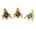Square & Compass Lapel Pin Masonic Combo Pack Set of 3 - [Blue & Gold][1'' Tall]