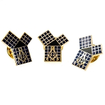 Euclid's 47th Problem Pythagorean Theorem with Grid Lapel Pin Masonic Combo Pack Set of 3 - [Black & Gold][3/4'' Tall]