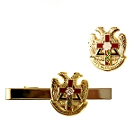 Rose Croix Cross 32nd Degree Scottish Rite Tie Bar Lapel Pin Masonic Combo Pack