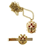 Rose Croix Cross 32nd Degree Scottish Rite Tie Bar Necklace Masonic Combo Pack