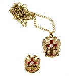 Rose Croix Cross 32nd Degree Scottish Rite Lapel Pin Necklace Masonic Combo Pack