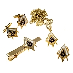 Working Tools Square & Compass Lapel Pin Tie Bar Cufflink Necklace Masonic Combo Pack