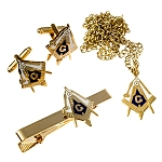 Working Tools Square & Compass Tie Bar Cufflink Necklace Masonic Combo Pack