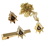 Working Tools Square & Compass Lapel Pin Tie Bar Necklace Masonic Combo Pack