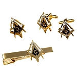 Working Tools Square & Compass Lapel Pin Tie Bar Cufflink Masonic Combo Pack