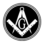 Filled Circle Square & Compass Masonic Vinyl Decal