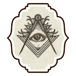 Shining All Seeing Eye Square & Compass Masonic Bumper Sticker - [5.5'' Tall]