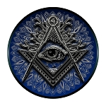 Shining All Seeing Eye Square & Compass Round Masonic Bumper Sticker - 5