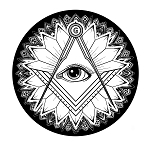 Floral All Seeing Eye Square & Compass Round Masonic Bumper Sticker - 5
