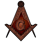 Wood Square & Compass Masonic Bumper Sticker - [5'' Tall]