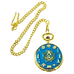 Working Tools Masonic Pocket Watch - [Gold & Blue][2'' Diameter]