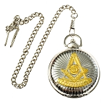 Past Master Masonic Pocket Watch - [Silver & Gold][2'' Diameter]